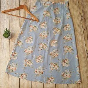 Jonathan Martin Blue Floral Long Modest Skirt Rose